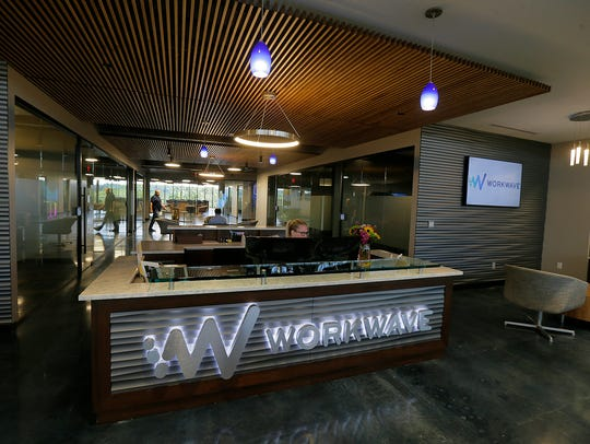 Overall of the lobby area at WorkWave inside Bell Works,