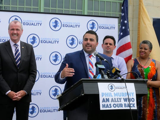 Christian Fuscarino, executive director of Garden State Equality, speaks during a press conference to announce Phil Murphy, Democratic candidate for governor, will receive the Garden State Equality endorsement on the boardwalk in Asbury Park, NJ Wednesday, July 5, 2017.