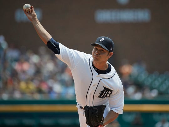 Tigers pitcher Anibal Sanchez pitches against the San Francisco Giants at Comerica Park on July 6, 2017.