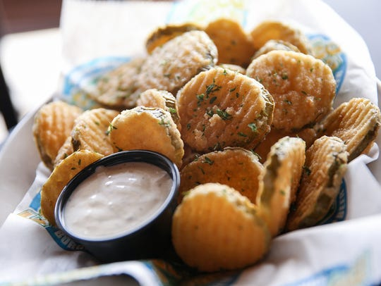 Fried pickle chips served at the Stacked Pickle on