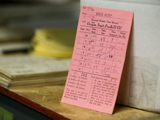Ardis Birch's time card from 1962 sits on a shelf in an Oregon Fruit Products warehouse on Thursday, July 6, 2017, in Salem, Ore. Birch recently retired after working for the company for 56 years; she started at the plant when she was 18 in 1961.