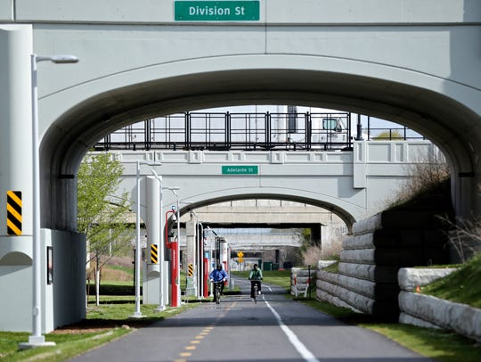 The south view of the popular Dequindre Cut greenway