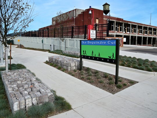 The popular Dequindre Cut greenway from Gratiot to