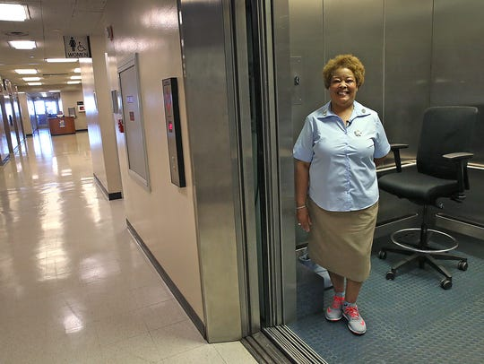 Denise Cummings, a service elevator operator at the
