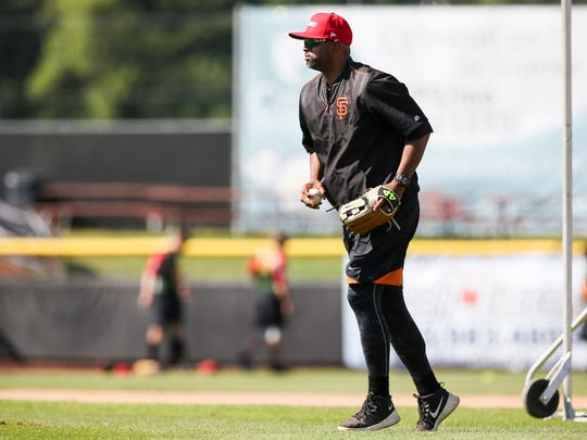 Volcanoes manager Jolbert Cabrera on Thursday, July 13, 2017, at Volcanoes Stadium in Keizer. Cabrera is in his first season as manager of the team.