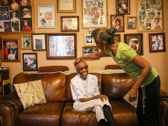 Rosa Malone, 94, has lived in her home in Grandmont Rosedale neighborhood in Detroit for 44 years and is photographed with her daughter Chrystal Malone-Dorsey, 62, on July 6, 2017 at her home.