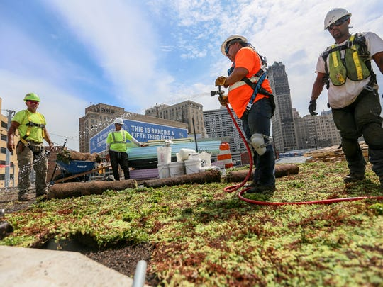 """Workers plant succulents on the """"living"""" rooftop of the building in DTE's newest park called Beacon park in downtown Detroit, photographed on Thursday, July 6, 2017."""