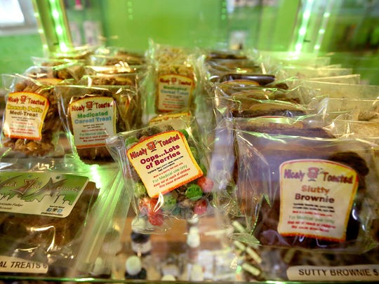 A variety of medical marijuana edibles are on a shelf