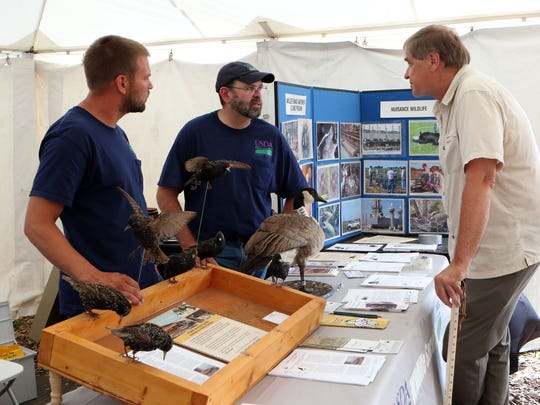 Mike Berg (left) and Mike Jones, with the USDA Wildlife Services, talk to Jerry Halverson (right), of Manitowoc about nuisance wildlife during Farm Technology Days at Ebert Enterprises in Algoma on July 12, 2017.