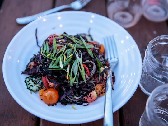 Third course is chilled soba noodle salad during the