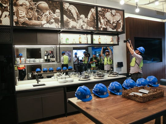 An updated suite seen during a tour of the renovations at Ford Field, photographed on Wednesday, July 18, 2017.
