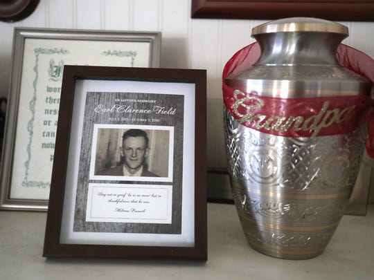 George Rainey used Swanson Funeral Home in Flint to have his father Earl Field cremated and ran into issues. The urn that his father's ashes are supposed to be in are at George's home on Friday, July 21, 2017 in Lansing.