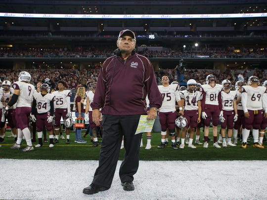 Corpus Christi Calallen head coach Phil Danaher passed G.A. Moore last year for the most wins (432) in state history. Danaher has spent 33 of his 43 seasons at Calallen, where he has compiled a 364-70-4 record.