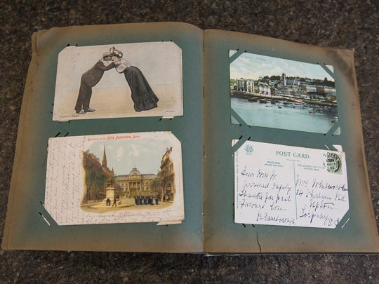 Collection of postcards with love letters written on