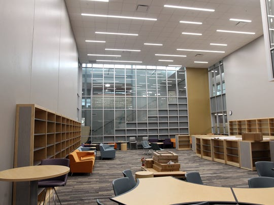 The media center is pictured inside Solon's new middle school on Monday, July 31, 2017.