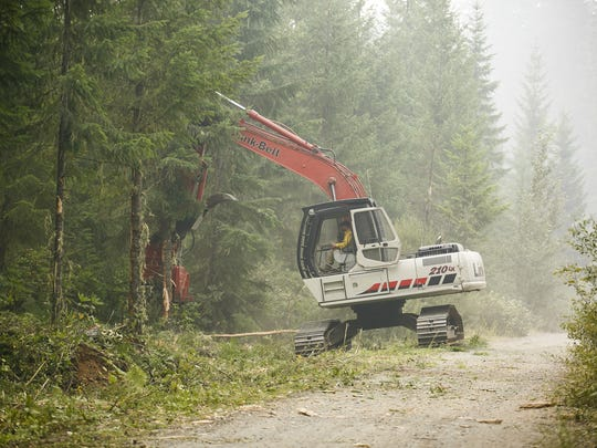 Fire crews use heavy machinery to cut back branches