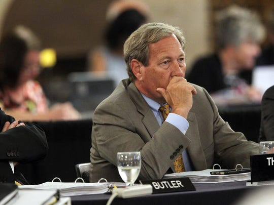 Bruce Harreld, president of the University of Iowa, listens June 8, 2017, during a meeting of the Iowa Board of Regents at the University or Northern Iowa.