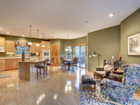 A spacious kitchen offers room for entertaining at