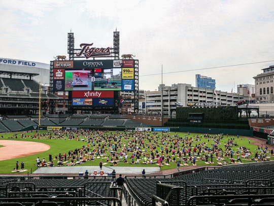 during Yoga Day at Comerica Park in Detroit on Sunday,
