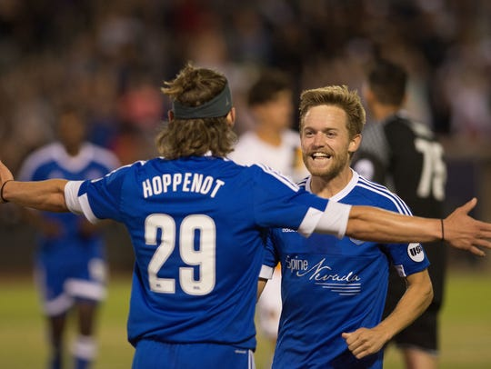 Reno's Antoine Hoppenot and Chris Wehan celebrate a