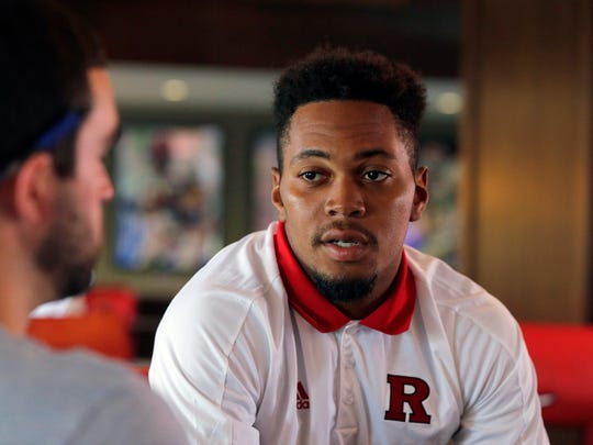 Kiy Hester, defensive back, speaks to reporters at High Point Solutions Stadium during Rutgers Football Media Day at Rutgers University in Piscataway, NJ Sunday August 13, 2017.