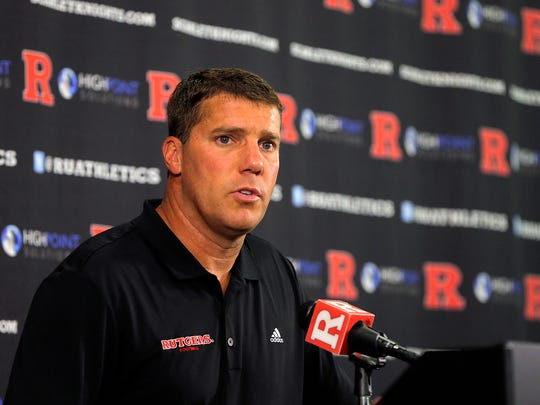 Chris Ash, Rutgers head football coach, holds a press conference in the team meeting room inside the Hale Center during the 2017 Rutgers Football Media Day at Rutgers University in Piscataway, NJ Sunday August 13, 2017.