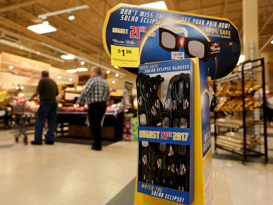 Eclipse glasses are available at a Fred Meyer store in Salem, Ore., on Tuesday, Aug. 15, 2017.