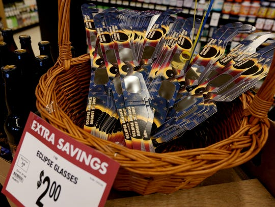 Eclipse glasses are available at a Roth's Markets grocery