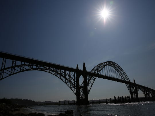 A view of the Yaquina Bay Bridge in Newport, Ore., 48 hours before the Great American total solar eclipse first makes landfall in Newport. Photographed on Saturday, Aug. 19, 2017.