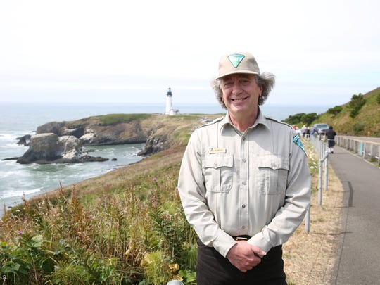 Jay Moeller, the chief ranger at the Yaquina Head Lighthouse in Newport, Ore., on Sunday, Aug. 20, 2017. The Great American total solar eclipse first makes landfall at the lighthouse on Monday morning.