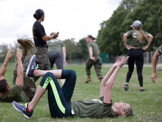 Supermodel Kate Upton, works out on the fields at Wayne State University with the U.S. Marines Tuesday August 22, 2017, ahead of Detroit Marine week that will be held, Sept. 6-10.