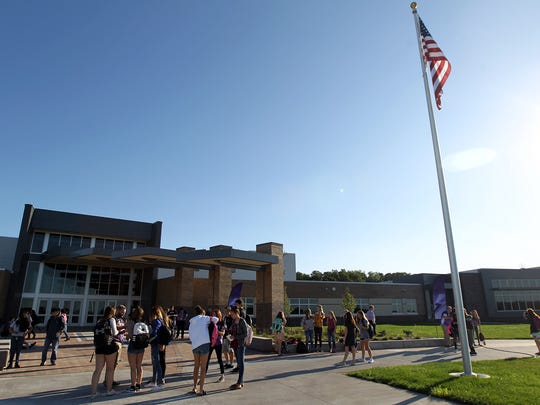 Liberty High students gather on the first day of school