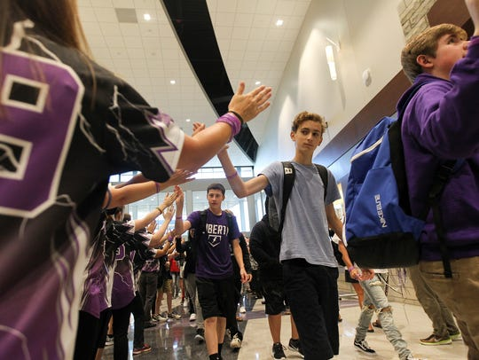 Liberty High students are welcomed on the first day