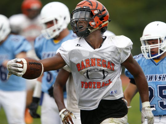 Freehold Township faces Barnegat during scrimmage in Freehold Tuesday, August 22, 2017