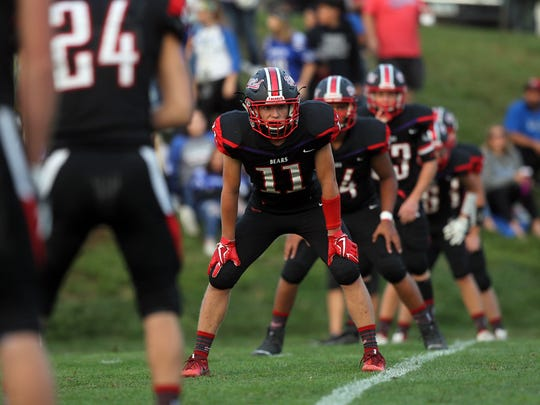 West Branch's Brady Lukavsky waits for the kickoff for the Bears' game against West Liberty in West Branch on Friday, Aug. 25, 2017.