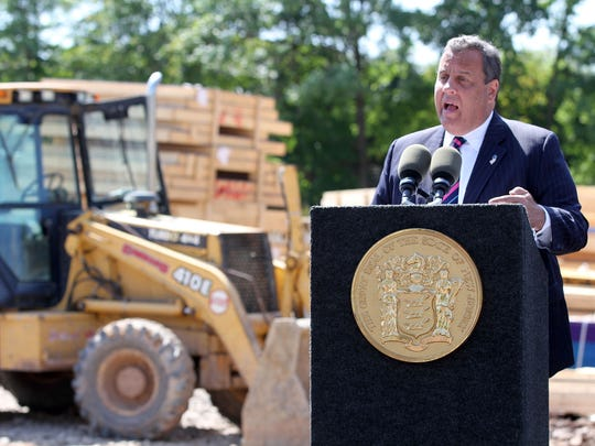 Gov. Chris Christie makes a Department of Community Affairs Affordable Housing Announcement at the Woodbridge Affordable Housing Construction Site on Bunns Lane Friday, Aug. 25, 2017.