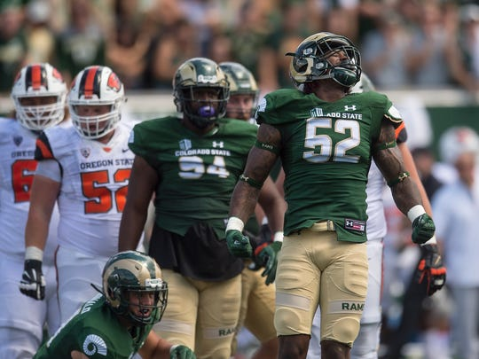 CSU linebacker Tre Thomas celebrates after sacking Oregon State's quarterback during an Aug. 26, 2017, game in Fort Collins. Thomas was signed to a free-agent contract by the Indianapolis Colts on Sunday after earning a spot on the team's offseason roster during a rookie minicamp.