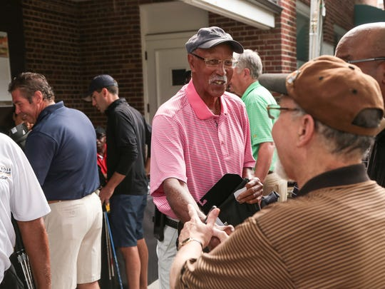 Former Detroit Mayor Dave Bing talks with other golfers before the start of the 7th Annual Jalen Rose Leadership Academy Celebrity Golf Classic at The Detroit Golf Club in Detroit on Monday August 28, 2017.