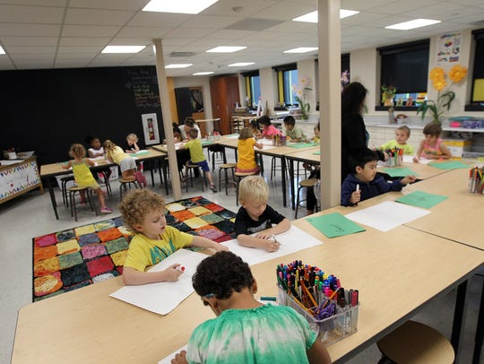 Lucas Elementary's new art room is pictured on Thursday,