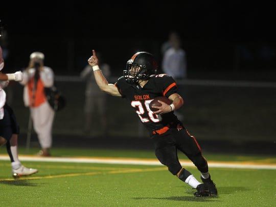 Solon's Hunter Kula celebrates his touchdown during