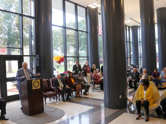 Hinds President Clyde Muse addresses the crowd at the