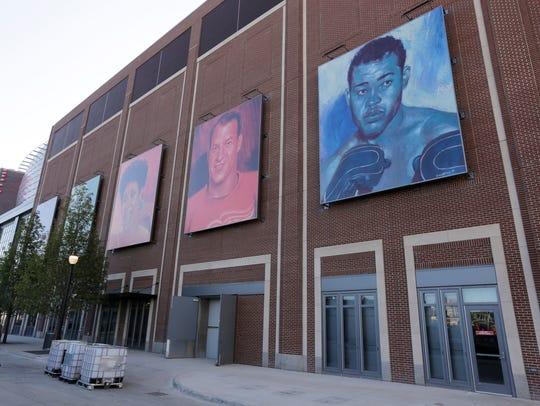 Outside Little Caesars Arena on Sproat Street in Detroit