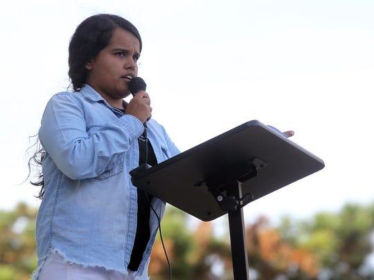 University of Iowa junior Isabela Flores speaks to