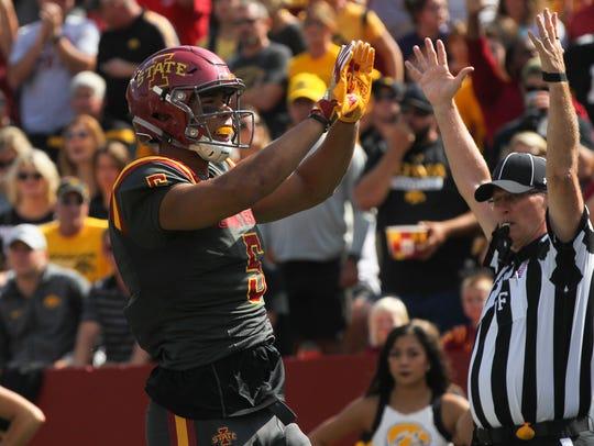 Iowa State's Allen Lazard celebrates his 5-yard touchdown