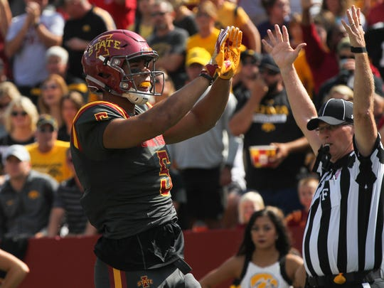 Iowa State's Allen Lazard celebrates his 5-yard touchdown catch during the Cyclones' game against Iowa at Jack Trice Stadium in Ames on Saturday, Sept. 9, 2017.