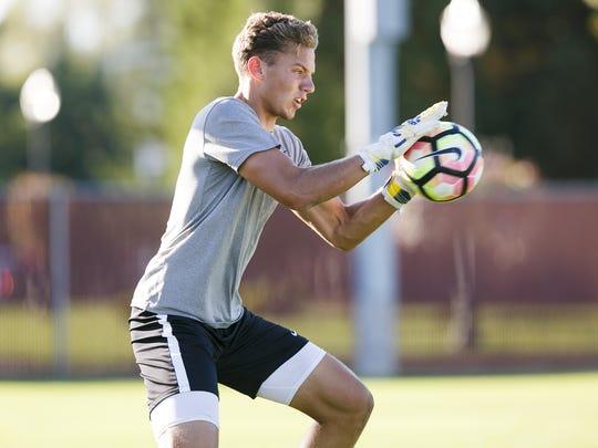 Corban goalkeeper Jordan Farr, a Cascade High School graduate, on Sunday, Sept. 10, 2017. Farr is within reach of setting the NAIA career record for most shutouts.