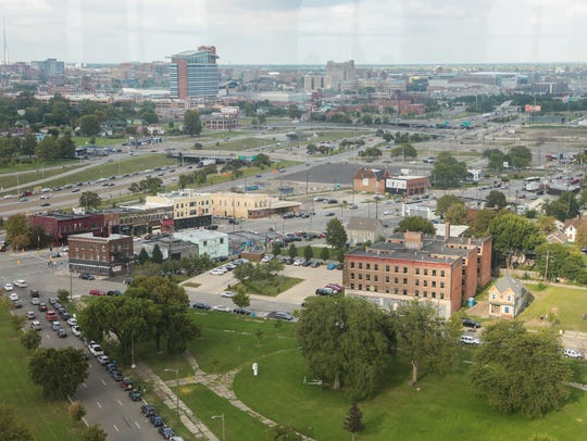 A view of Michigan Avenue from the 13th floor of Michigan Central Station in Detroit on Sept. 13, 2017, during Crain's Detroit Homecoming IV event.