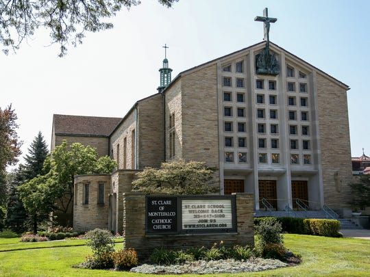 The St. Clare of Montefalco Catholic Church. It was built in 1953 in Grosse Pointe Park and it is photographed on Wednesday, Sept. 13, 2017.