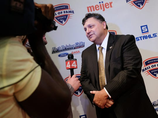 Oakland coach Greg Kampe talks to press before the start of Michigan Sports Hall of Fame induction ceremony on Friday, Sept. 15, 2017, at the Max M. Fisher Music Center.