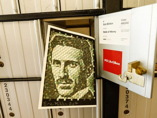 "Royal Oak artist Eric Millikin's ""Made of Money"" on display inside of a PO box in the PO (Art) Box during ArtPrize Nine in Grand Rapids, Friday, September 22, 2017."